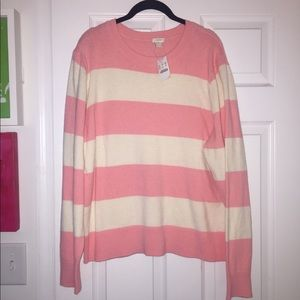 J Crew Factory pink and white striped sweater, XXL